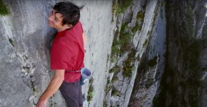 Alex Honnold on the wall after the crux move. He's full of joy and gratitude